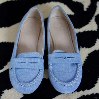 New! Sepatu Flat Shoes Jeans Cewek Biru