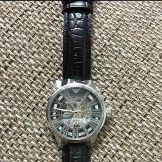 阿玛尼美国代购男士镂空全自动机械手表皮带透底休闲男表AR4629