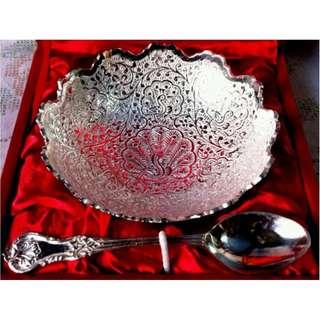 Designer Bowl n Spoon  Gift set in silver finish