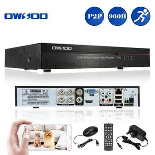 OWSOO 4CH Channel Full 1080N(960*1080) AHD DVR HVR NVR H.264 HDMI P2P Cloud Network Onvif Digital Video Recorder + 1TB HDD support Audio Record Phone Control Motion Detection Email Alarm PTZ for CCTV Security Camera Surveillance System