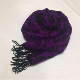 圖紋 披肩 黑色 紫色