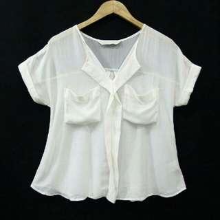 Baju Kemeja Blouse Kuliah Kerja White Putih Tulang