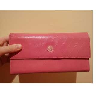 chanel粉色皮質長皮夾