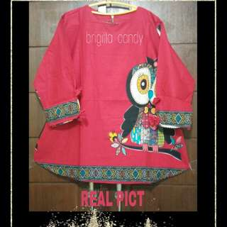 ( NEW PRODUCT ) Blouse Modiste Owl Ribbon - Red