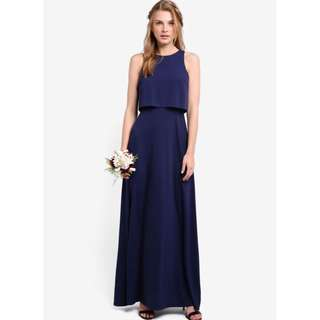 Zalora Navy Blue Double Layer Maxi Dress