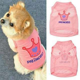pet dog or cat princess letter crown shirt summer coat
