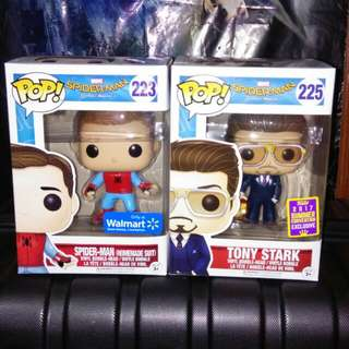 (ON HAND) Spider-Man Homemade Suit and Tony Stark Funko Pop Bundle