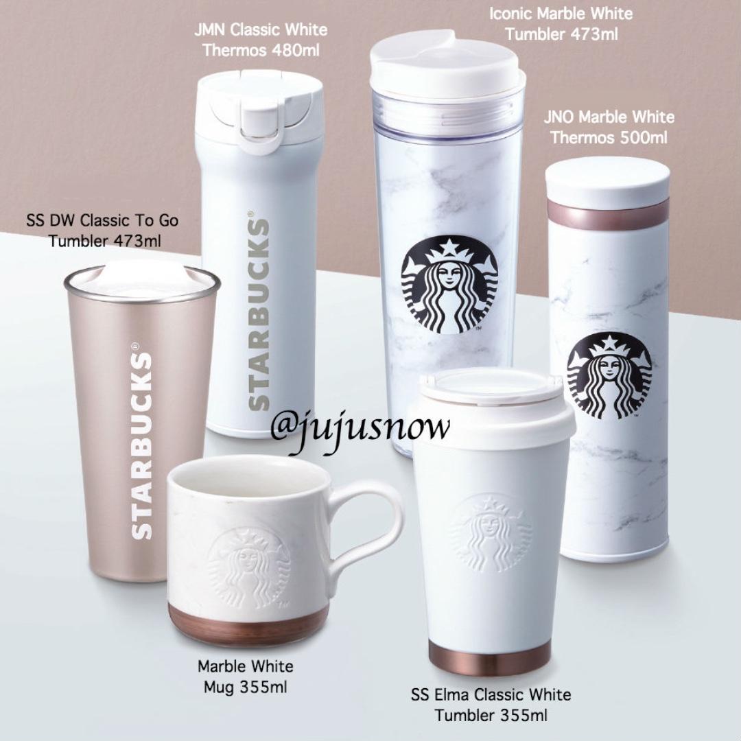 2018 Starbucks Korea Classic Core Marble White Collection