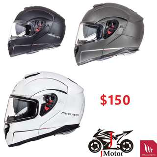 MT-Helmets Atom modular  Flip Up Helmet - Gloss Pearl White full face