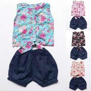 TiaTGB Baju Setelan Anak Perempuan Katun Kurung Ikat Shabby Chic Celana Balon (no barter, no nego)