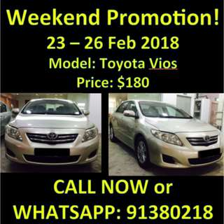 $180 Toyota Altis 23-26 Feb Flash Sale Weekend