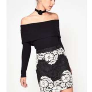 Miss selfridges off shoulder black top