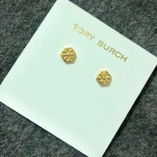 Tory Burch Stud Earrings Gold Small Size 細粒六角形耳環