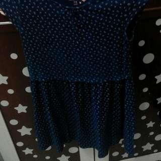 Mango girls dress polka biru