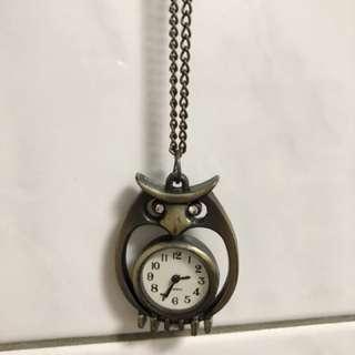 貓頭鷹項鍊 時鐘項鍊 墜鍊