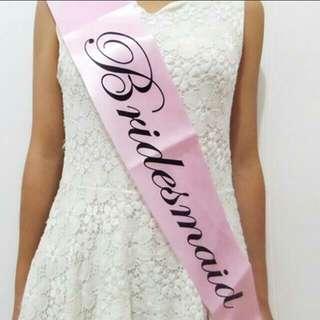 Bridesmaid Sash / Pink / In-stock / Discounted $$