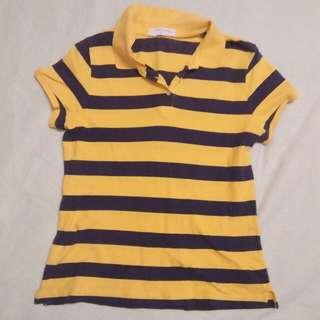 Giordano Black and Yellow Collared Shirt