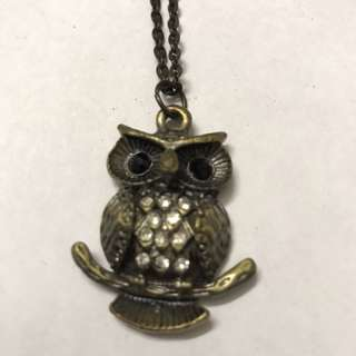 Owl vintage long necklace