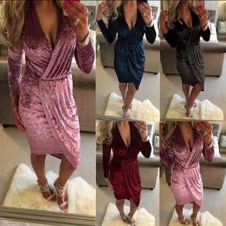 NEW! Velvet Midi Wrap Dress
