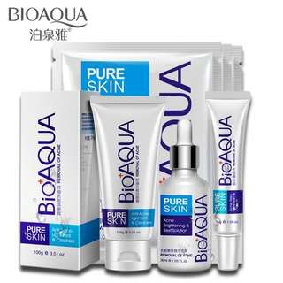 [READY STOCK]Bioaqua Acne skin care set acne treatment deep facial cleanser scar remover oil control strong effect pimple remover ance remover lightening whitening