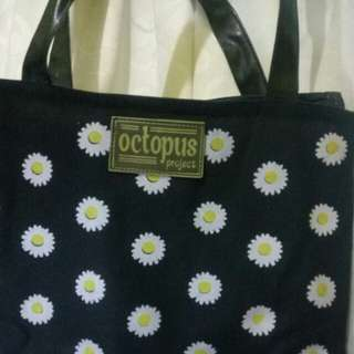 Totebag octopus project motif daisy