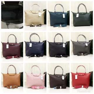 Longchamp leather tote bags