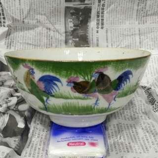 醴陵6吋手繪公雞碗,未知年份