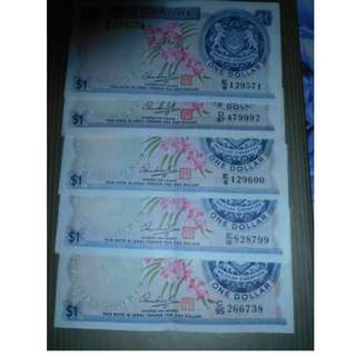 5 pieces of Orchid series $1.00 notes