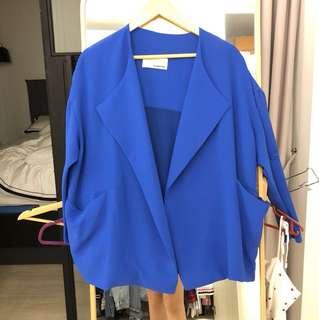 Oversize relax fit blazer in cobalt blue