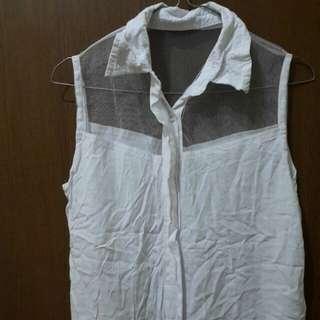 Preloved Atasan Blouse Tangtop Model Kemeja warna Putih Fit to L Mat Satin Kombi furing