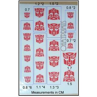 Transformers Autobot Insignia Symbol Logo Dry Transfer Decal - Not Sticker