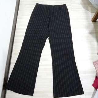 全新 條紋褲 薄西裝褲 寬褲 微喇叭褲