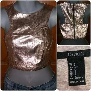 Forever 21 Gold Leather Faux Crop Top