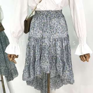 TC1837 Korea Flowers Printed Summer Irregular Skirt (Blue,Beige)