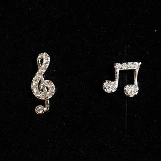 925 Silver Musical Notes Earring