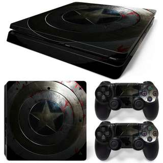 Captain America's Vintage Faded Look Logo Shield Skin Vinyl Decal Cover Sticker Adhesive for Sony PlayStation 4 Slim