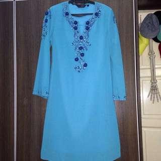 Baju Kurung Chiffon Blue Sequins
