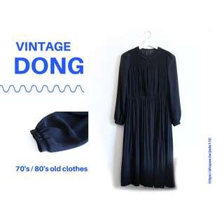 | 咚 咚 Vintage |日本古著- 黑古典長袖洋裝