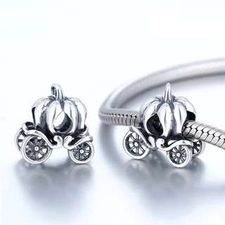 Code S99, Pumpkin Carriage 100% 925 Sterling Silver Charm compatible With Pandora