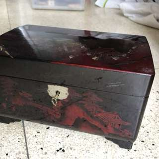 55 year old antique - Laquered wooden jewelry box
