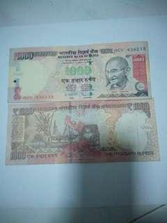 India 1000 rupees