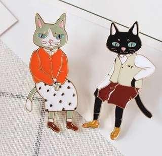 貓貓心口針一對