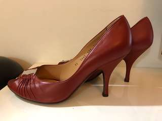 Salvatore Ferragamo open toe shoes in copper red