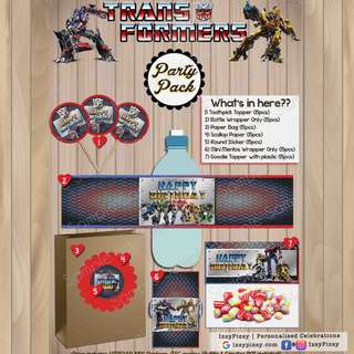 Transformers Kid's Birthday Party Pack
