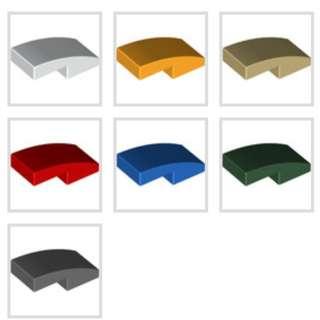 Lego Slope Curved 1x2 Blue Bright Light Orange Dark Green Dark Bluish Gray Red Tan White 1pc