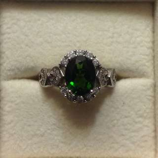 Chrome Green Diopside Sterling Silver Ring, Vintage Item - Fixed Price