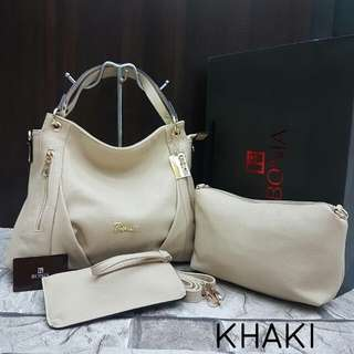 Bonia Hobo Handbag Khaki Color