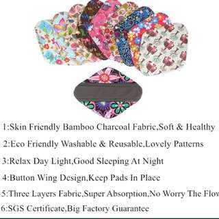 Eco friendly Reusable panty liner/ pad Bamboo charcoal waterproof menstrual pad cloth