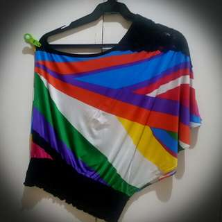 Multi Colored One Sided Blouse w/ Lace