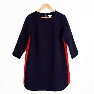 [RESERVED] H&M Dark Blue with Red Side Stripe Dress
